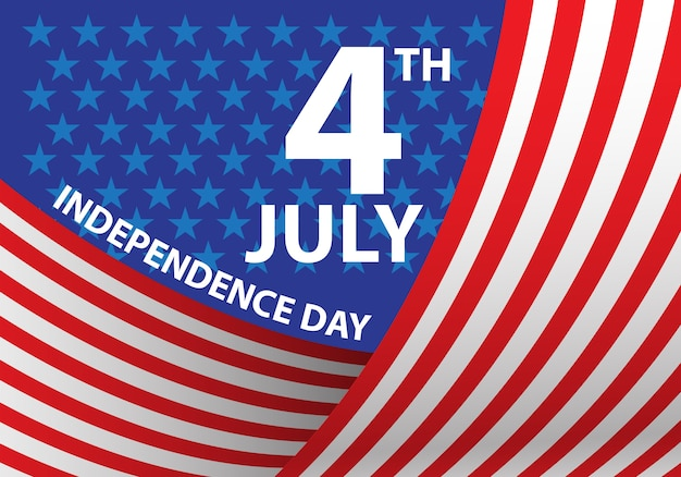 4th july independence day of the usa curve flag holiday celebration illustration