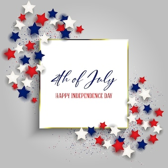 4th july independence day usa with with gold frame and stars