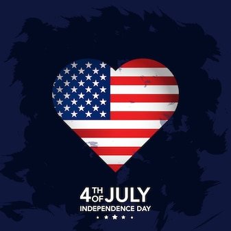 4th july independence day with heart