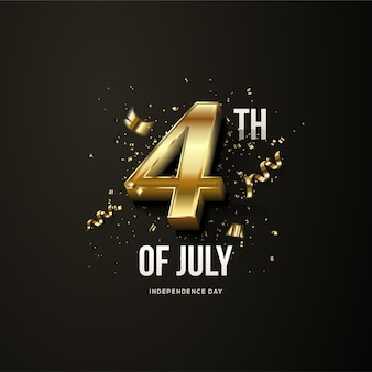 4th of july independence of the united states of america with gold numbers