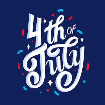 4th of july lettering design with confetti