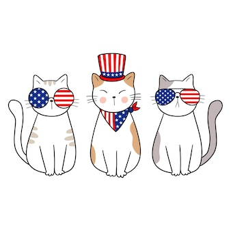 4th of july patriotic cats independence day vector illustration