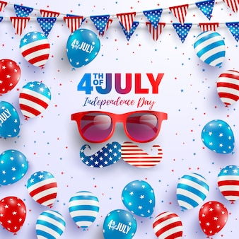 4th of july poster template.usa independence day celebration with american balloons flag