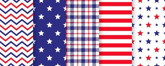 4 июля бесшовные модели. американский патриотический синий, красные принты.