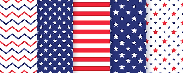 4th july seamless pattern set