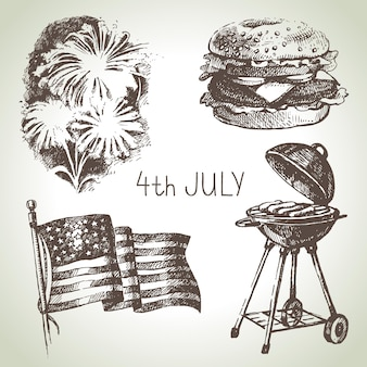 4th of july set. hand drawn illustrations of independence day of america
