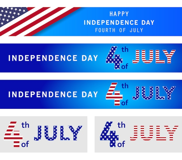 4th of july set of holiday banner. american independence day, navy blue background. memorial day