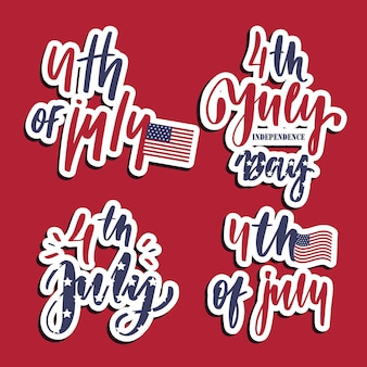 4th of july set of lettering card.
