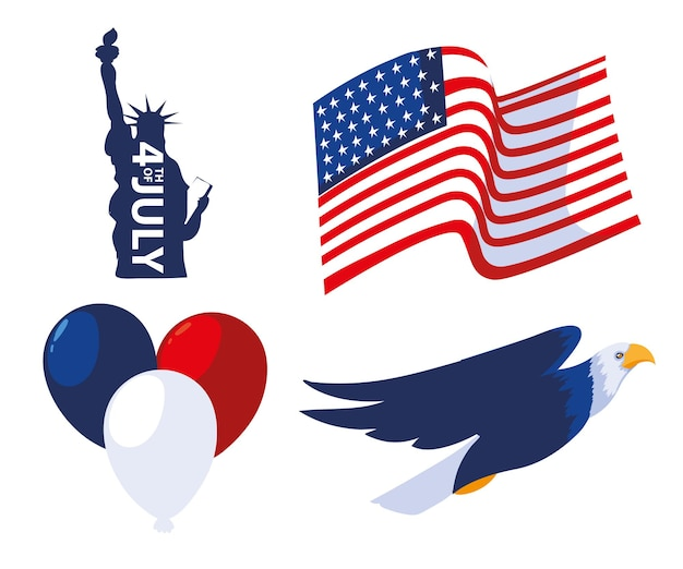 4th july statue liberty eagle flag