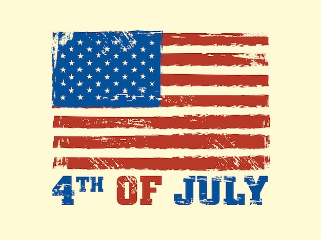 4th of july text with usa flag on beige background