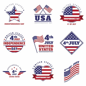 4th july united states independence day emblem, logo set