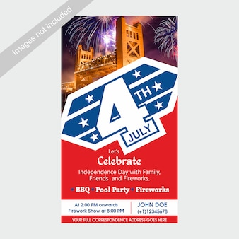 4th of july us independence day invite template with bbq, pool party and fireworks attraction.