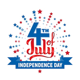4th of july. usa independence day lettering isolated on white background