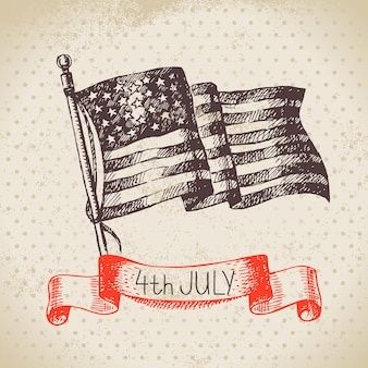 4th of july vintage background. independence day of america hand drawn sketch design