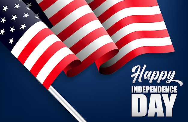 4th of july with usa flag, independence day banner illustration.