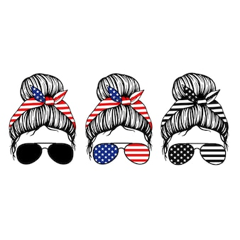 4th of july women with aviator glasses bandana and usa flag print patriotic mom messy bun mom