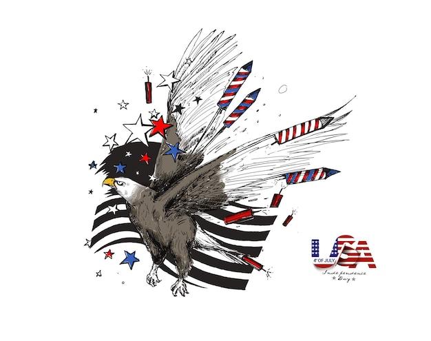 7月4日-イーグル独立記念日、手描きスケッチベクトルイラストとアメリカの国旗。