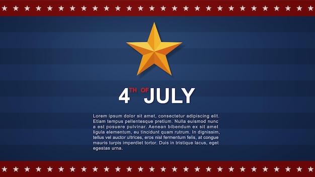 青い背景とアメリカの国旗と米国(アメリカ合衆国)独立記念日の7月4日の背景。ベクトルイラスト。