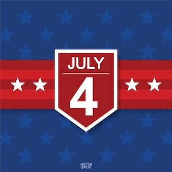 4 июля фон для дня независимости сша (соединенные штаты америки) с синим фоном и американским флагом. векторная иллюстрация.