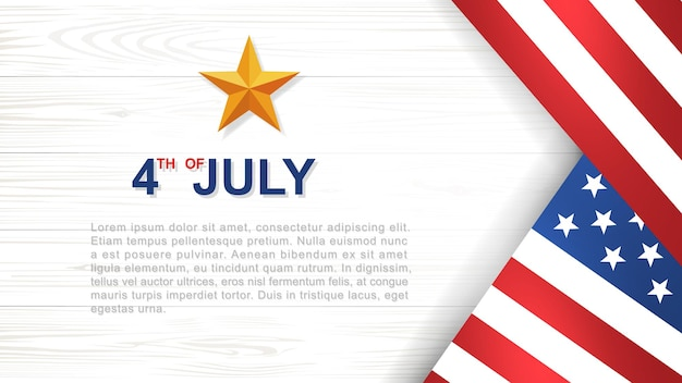 7月4日-アメリカ(アメリカ合衆国)の背景白い木の模様と質感とアメリカの国旗の独立記念日。ベクトルイラスト。