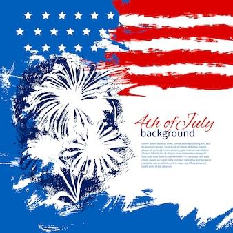 4 июля фон с американским флагом. день независимости винтаж рисованной эскиз дизайн