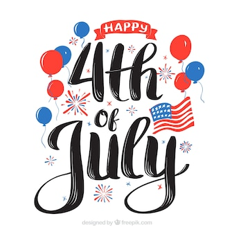 4th of july background with lettering