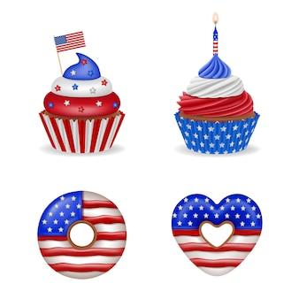 7月4日のケーキアメリカ独立記念日のお菓子のセットは、アメリカの国旗の色でカップケーキとドーナツを分離しました