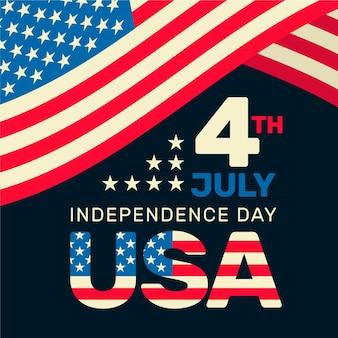7月4日のお祝いのフラットスタイル