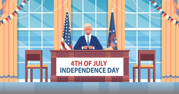 7 월 4 일 미국 독립 기념일 배너 사람들에게 연설하는 미국 대통령 축하