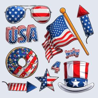 4 июля коллекция элементов день независимости день ветеранов и день памяти Premium векторы