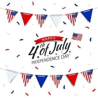 7 月 4 日、米国の旗を持つガーランド