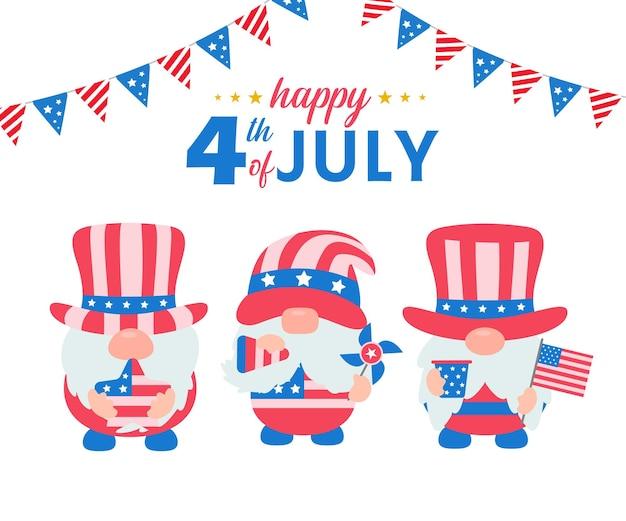 4 июля. гномы носили костюмы с американским флагом, чтобы отпраздновать день независимости.