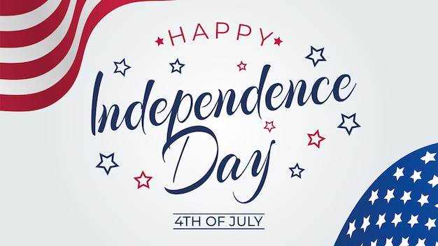 アメリカ合衆国の国旗の色と手書きのテキストが付いた7月のグリーティングカードの4日