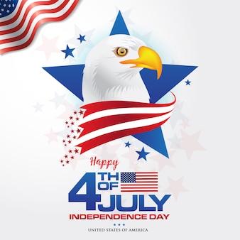 7 월 4 일. 깃발과 대머리 독수리, 미국의 상징을 흔들며 함께 미국의 행복 독립 기념일 배경