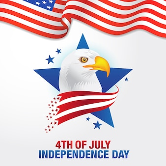 7 월 4 일. 깃발과 대머리 독수리, 미국의 상징을 흔들며 함께 미국의 행복 독립 기념일 배경 프리미엄 벡터