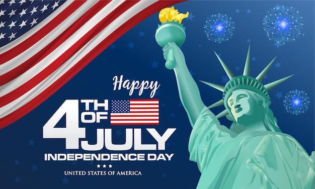 4 июля. счастливый день независимости америки фон с размахивая флагом и статуей свободы, символом америки