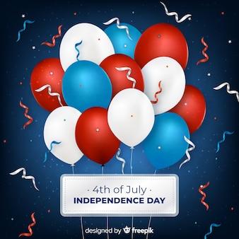 7月4日 - 風船での独立記念日の背景
