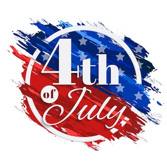 4th Of July Independence Day Background with Circle Frame and American flag Brush Strokes