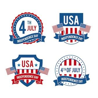7月4日-フラットなデザインの独立記念日のバッジ
