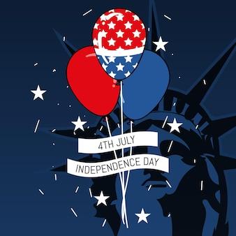 4 июля - день независимости воздушные шары фон