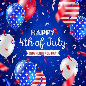 4 июля дизайн поздравительной открытки ко дню независимости Premium векторы