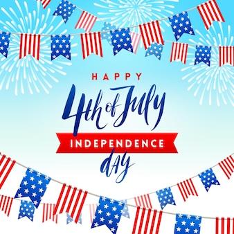 4 июля дизайн поздравительной открытки ко дню независимости