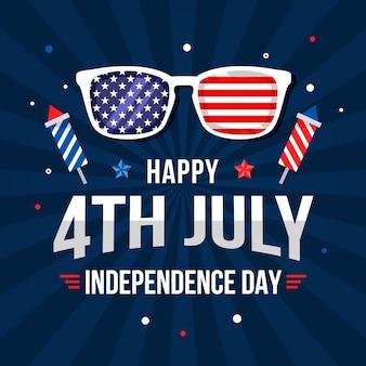 4 июля - иллюстрация дня независимости Бесплатные векторы
