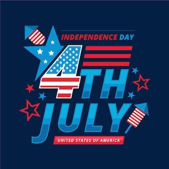 7月4日-フラットデザインの独立記念日