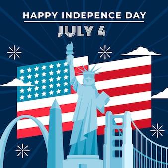 7 월 4 일-평면 디자인의 독립 기념일