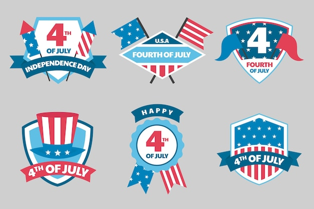 7月4日-独立記念日のラベルコレクション
