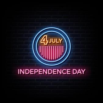 7 월 4 일 독립 기념일 네온 사인 스타일 텍스트