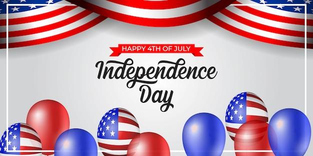 アメリカイラストの7月4日の独立記念日