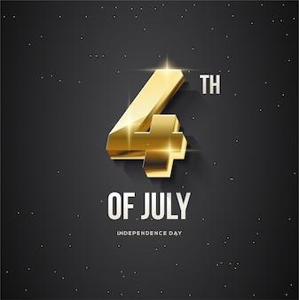 7 月 4 日 3d ゴールド ナンバーによるアメリカ合衆国の独立