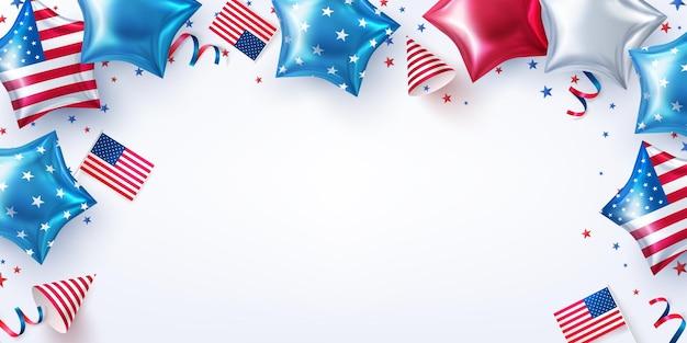 4 июля вечеринка фон. празднование дня независимости сша с воздушными шарами в форме американских звезд. 4 июля рекламный шаблон рекламного баннера или украшения и брошюры для вечеринки в сша.